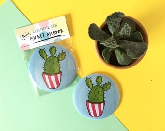 SALE! Cactus Illustrated Compact Pocket Mirror 76mm