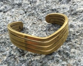 Vintage 70s Solid BRASS Bangle Bracelet Wrist Cuff Arm Band Handcrafted Hippie Boho Chic Tribal Folk Gypsy Southwest