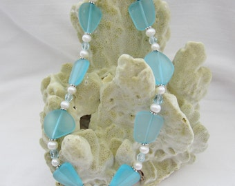 Aqua Blue Sea Glass & Freshwater Pearl Necklace