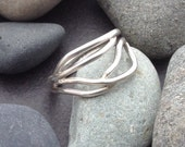Solid sterling silver ring, delicate interwoven tree branches, vines, wrap around finger, individually handmade size 8 and 3/4