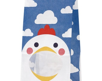 """From HEIKO ....Animal Print treat bag with window """"CHICKEN"""" with Gusset Set of 10 Medium Size Paper Bags with lining.."""