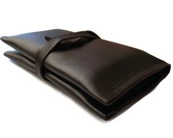 Leather Tissue Holder, Tissue Case, Travel Tissue Case, Pocket Tissue Cover, Travel Tissue Holder, Double Pocket, Full Grain Italian Leather