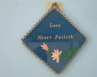 Vintage Amish Hand-Painted Saying on Glass