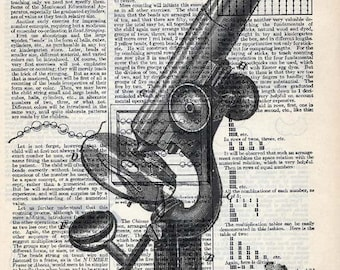 Vintage Illustration Printed on Antique Encyclopedia Page  - Antique Microscope