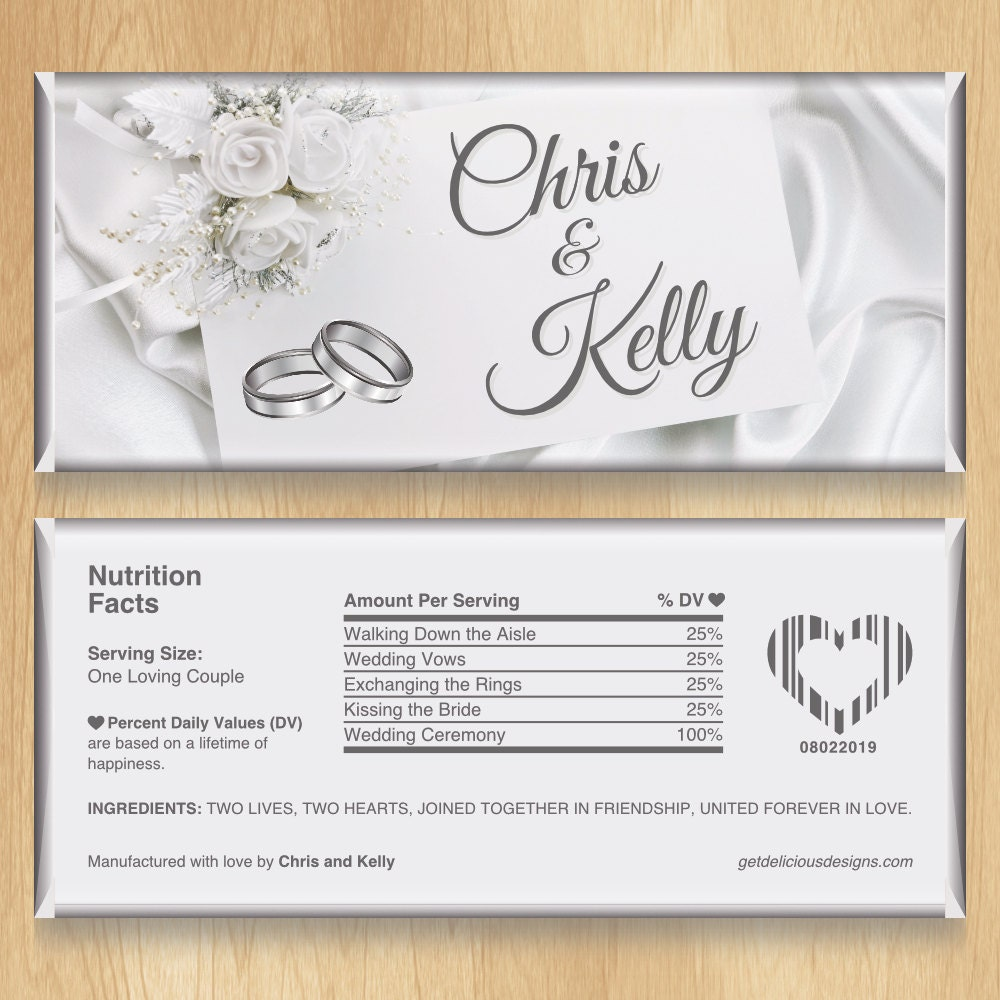 Personalized Wedding Candy: Personalized Candy Bar Wrappers White Wedding By Delicious