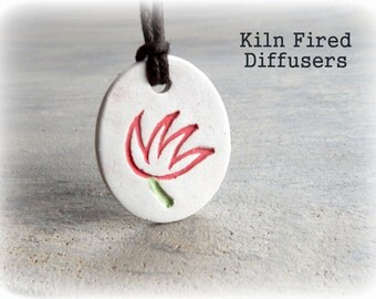 White Clay Essential Oil Diffuser NECKLACE,Red Tulip Artisan Handmade High Quality Ceramic Jewelry Scent Aroma Therapy Organic Pottery Gift