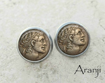 Glass dome coin earrings, coin earrings, coin stud earrings, coin earrings, coin art earrings, coin jewelry, ancient coin, HG103E