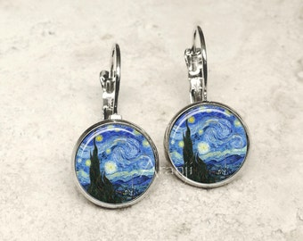 Van Gogh Starry Night earrings, Starry Night earrings, Van Gogh earrings, Starry Night jewelry, Starry Night, fine art earrings AR145LB