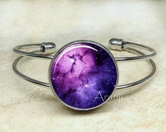 Violet nebula bracelet, nebula bracelet, nebula bangle, nebula jewelry