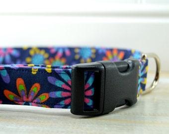 Dark Blue Daisy Dog Collar, Bright Color Dog Collar, Pet Collar, Adjustable Dog Collar, Fabric Collar, Large Dog Collar, Small Dog Collar