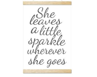 she leaves a little sparkle art print
