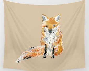 Fox Wall Tapestry, woodland tapestry, nature wall tapestry, fox wall hanging, fox wall art, nursery tapestry, fox decor, forest tapestry