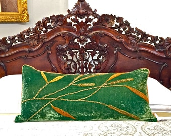 One-of-a-Kind Vintage Emerald Green Velvet Beaded Long Pillow - Custom Down Insert