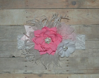 Pink White Valentine's  Chiffon Flower Boutique Headband Baby Toddler Headband Flower Girl New Years Glitter Lace Ostrich Feathers