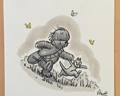"Original, signed ""Wookiee the Chew"" drawing - ""Chew & Tauntoo"" by James Hance"