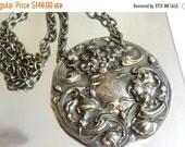 50 OFF SALE Victorian Art Nouveau Daffodil Necklace Chain Silverplate Hip Hop Pendant Repousse Unisex Silverware Flatware Repurposed Upcycle