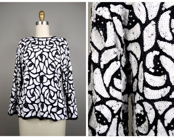 Black & White Sequined Top / Black and White Floral Beaded Sequin Top PS