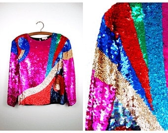 AMAZING Vibrant Sequin Top // Geometric Sequined Blouse // Bright Pink Fully Embellished Top Large