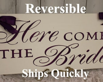 Here Comes the BRIDE Sign/Great Shower Gift/Eggplant/Light Weight/Wood Sign/Wedding Sign/U Choose Color/Fast Shipping/reversible Options