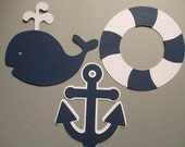 6 Nautical (3 size options) Theme Decorations, Diecut Cutouts, for Diaper Cake, Centerpiece, Birthday Party, Baby Shower, White and Navy