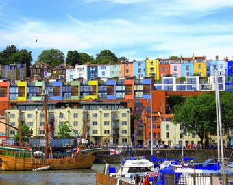 Hotwell Road, Coloured Houses, The Matthew, Bristol Harbourside, Fine Art Photography, Bristol, United Kingdom, Photography, England, UK