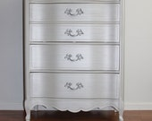 French Light Grey Tall Dresser/Chest of drawers/Bureau