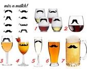 Mustache Beer Mug Pilsner Glass Stein Wine Champagne Flute Stemless Custom fake Hipster Guy Gift Trendy Fad Party Bachelor Bachelorette Prop