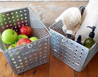 PAIR Vintage Wire Locker Baskets / Wire Gym Baskets / LYON Locker Baskets Pair