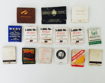 15 Random Vintage Used Matchbooks