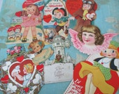 Vintage Valentines day cards 9 pieces lot H