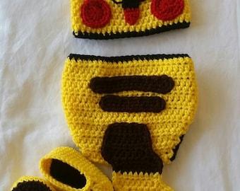 Crochet Pikachu Costume Photo Prop