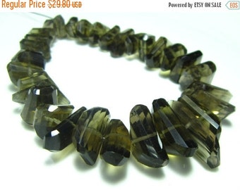 "MEGA SALE Smoky Quartz Centre Drill Faceted Nuggets- 8"" Strand -Stones measure- 7-18mm"