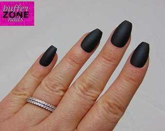 Hand Painted Press On False Nails, Matte Black, Long Length Coffin