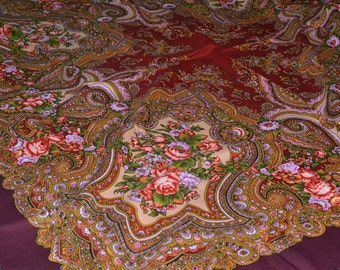 Authentic Large Huge Russian Pavlovo Posad Shawl Scarf  100% Wool Russia