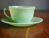 Custom Order Moon Lan -Fire King Jadeite Jane Ray set of 3 cups and saucers
