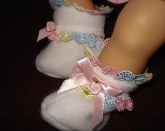 "15"" Doll Clothes - White fleece fabric with colorful lace trim , rosebud ,& satin bow Slippers Booties"