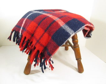 Vintage Faribault Blanket Throw Plaid Red White and Blue