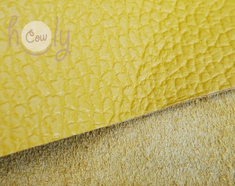 """Excellent quality genuine yellow cow leather 12"""" x 12"""" with a thickness of 1.6 mm, Cow Leather Hides, Leather Supplier, Yellow Leather Piece"""