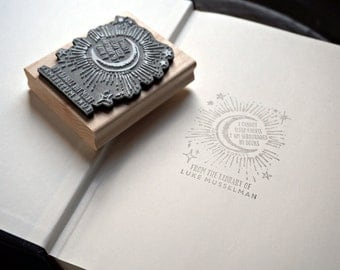 Bookplate Stamp –Reading Quote – Personalized Gift