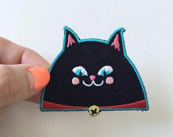 Black Cat cute velvet iron-on patch