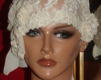 Flapper Hat Cloche Ivory Lace  1920 style Personalized  Headdress Millinery ArtWork Floral