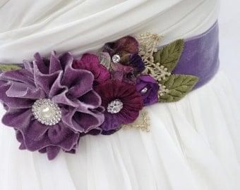 Bridal Sash,Wedding Sash in Vintage Lavender,Berry, And Violet with Crystals and Pearls, Rhinestones, WeddingBelt