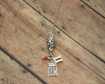 Fun Calculator and Pi Math Lover Silver Charm Necklace