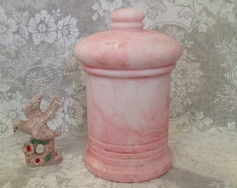 Alabaster canister jar Lobeco Spain hand carved pink dyed marble lidded storage container retro shabby romantic cottage chic home decor