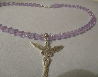 Irridescent lilac star acrylic necklace with large fairy pendant