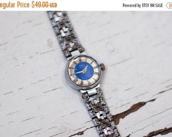 "Russian watch ,Vintage Watch, Womens watch, Soviet watch, Mechanical watch ,ladies watch""Chaika""  blue watch"