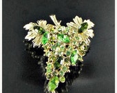 This item is ON SALE Green marquis rhinestone brooch pin Grapes BLING broach high end jewelry