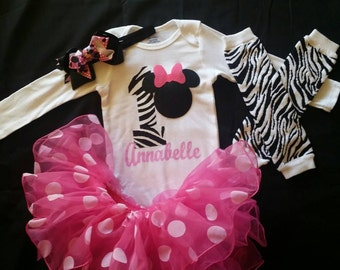 Minnie mouse birthday outfit,minnie mouse,tutu outfit,tutu,lil girls,big girls, birthday, zebra