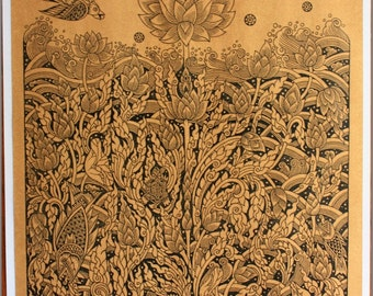 Thai traditional art of Four of these lotus by silkscreen printing on sepia paper