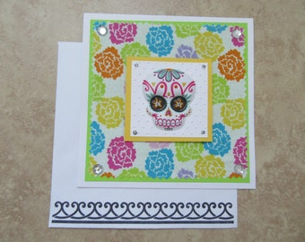Day of the Dead/Skull Colorful Fabric & Paper Card